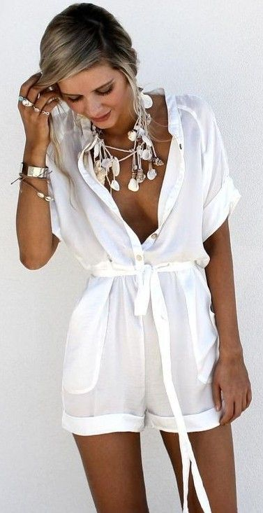 #summer #trending #fashion | White Playsuit