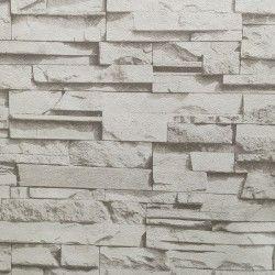 Carta da parati 3D pietra effetto realistico Colore grigio