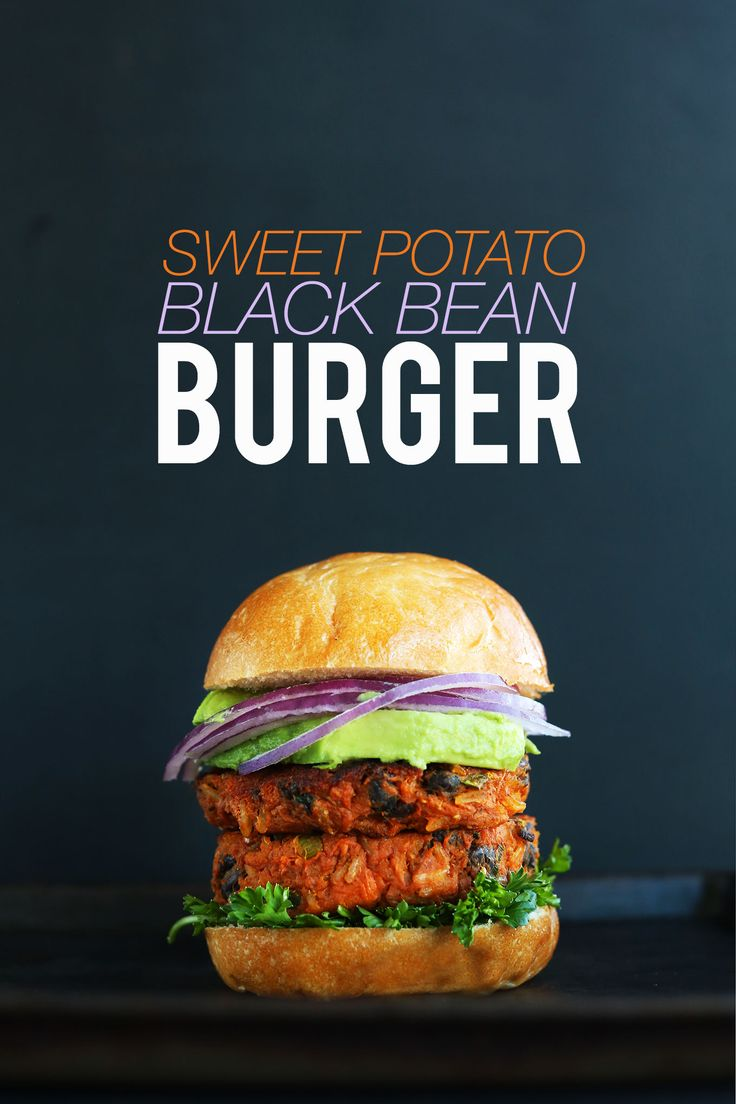 AMAZING 10 INGREDIENT SWEET POTATO BLACK BEAN BURGER! Tender, flavorful, hearty, SO delicious - use almond meal, no sugar