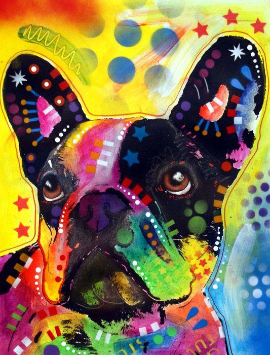 pintura de un bulldog.