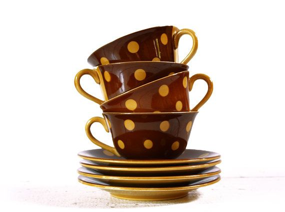 2 Lovely FRENCH brown coffee cups with yellow DOTS by RueDesLouves, $37.00