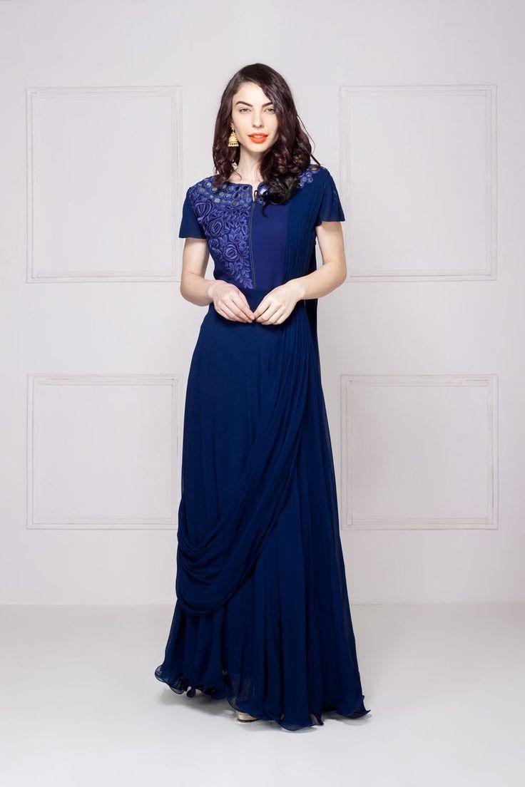 KALKI Mirror-work blue gown #flyrobe #wedding #weddingoutfit #flyrobeweddings #receptionoutfits #designerwear #designergown #receptiongown