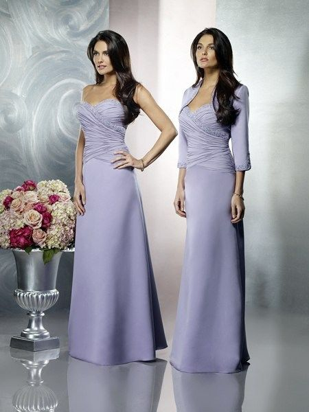3/4 Sleeves Purple Ruffles Sweetheart Floor Length Two Pieces Elegant Mother Of Brides Dress