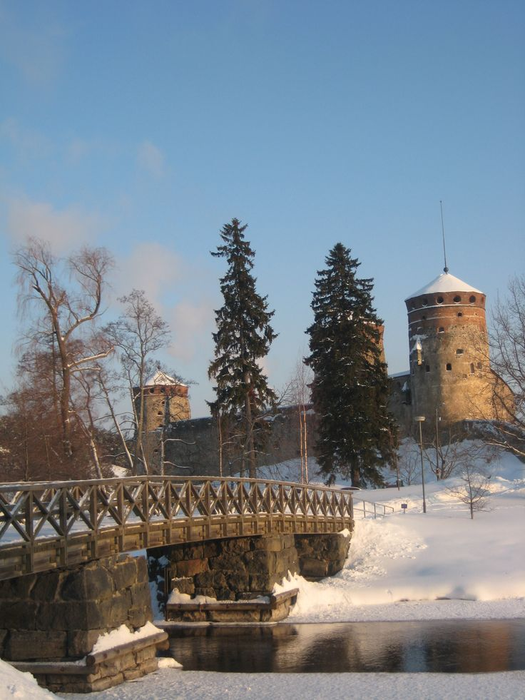 Olavinlinna castle on a beautiful winter day. Savonlinna, Finland.