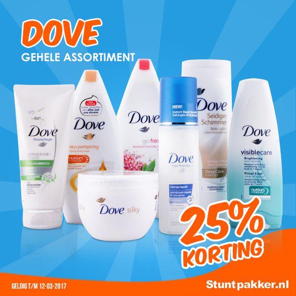 25% KORTING op Dove!  Dove heeft een groot assortiment aan producten voor de perfecte persoonlijke verzorging voor mannen & vrouwen.  Dove gelooft dat iedereen mooi is. Als je je goed voelt van binnen, ben je op je mooist!  Bekijk ons assortiment op www.stuntpakker.nl