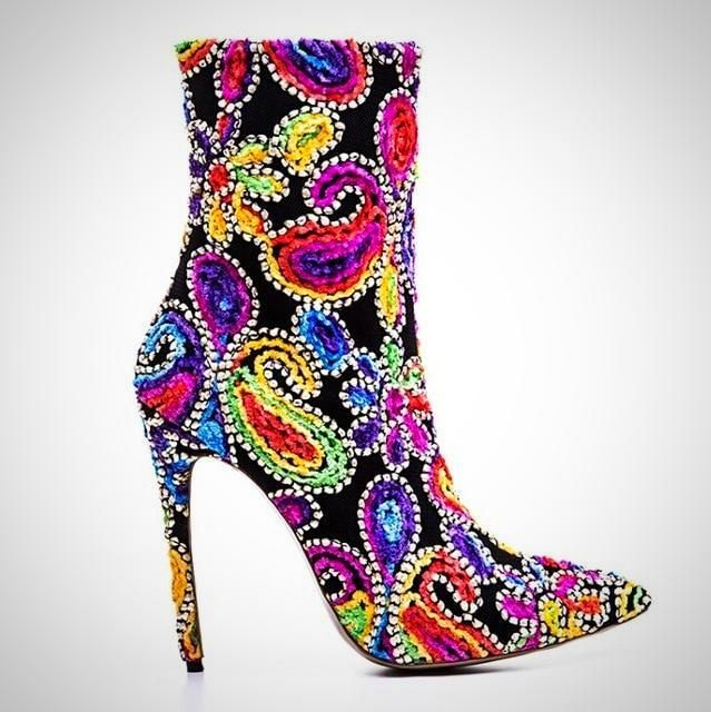 Gorgeous Pointed Toe Thin High Heel Ankle Boot | Velvet