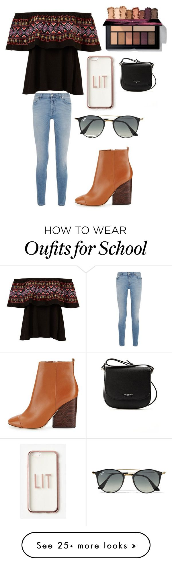 """""""School outfit"""" by makeuplover22 on Polyvore featuring Givenchy, Missguided, Ray-Ban, Lancaster and Tory Burch"""