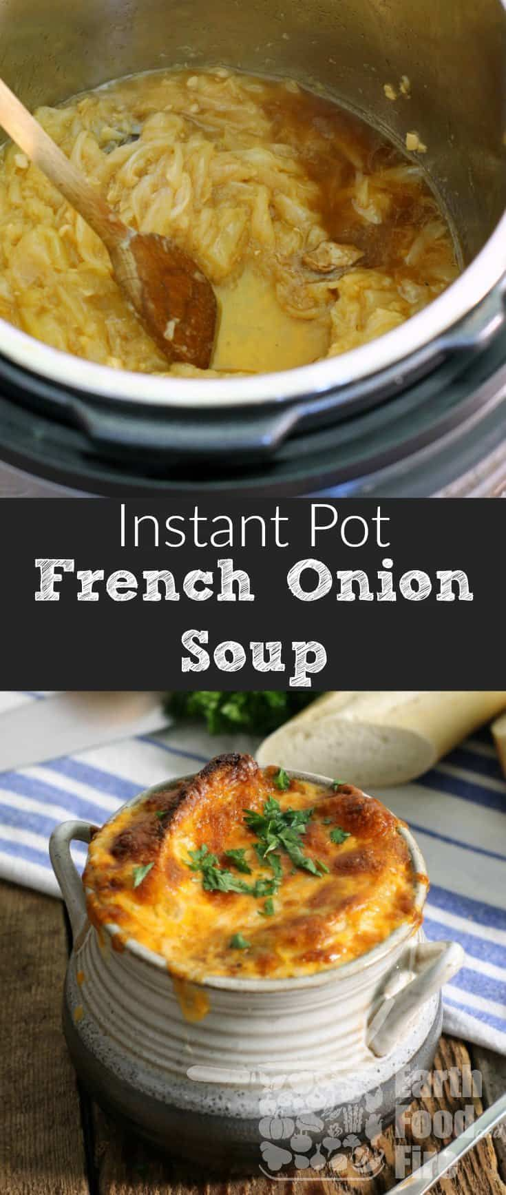 A classic soup full of sweet caramelized onions, rich beef broth, and topped with cheesy goodness, making restaurant quality French onion soup couldn't be easier then this! #glutenfree #dairyfree #lactosefree #frenchonionsoup #instantpot #onion #soup #appetizer #entree #beefbroth #cheesy #healthy #homemade #classic #traditional #baked #howtomake