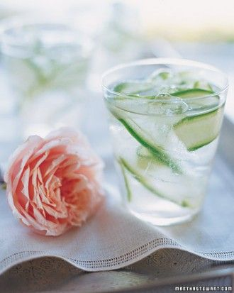 Cucumber-Ginger Fizzes:  Cucumber-infused vodka and ginger syrup give this sparkling cocktail its fresh flavor. FROM: Martha Stewart