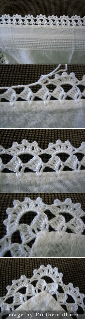 "Crochet edging with corner ~~ http://filomena-crochet-tricot-costura.blogspot.com.ar/2009/05/bico-de-crochet.html [   ""Crochet edging with corner- my mother used to do so much of this before her arthritis became too intense"",   ""Crochet edging wirh corner ~~ - a grouped images picture"",   ""Link is expired but I"