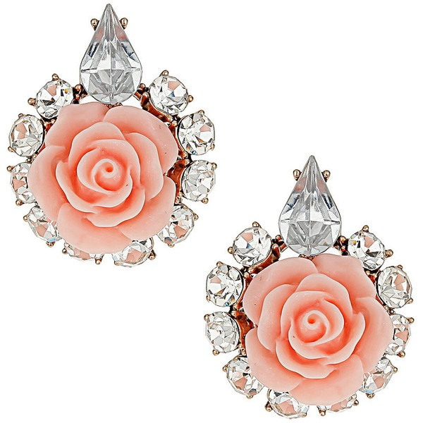 Vintage style rose earrings ($14) ❤ liked on Polyvore