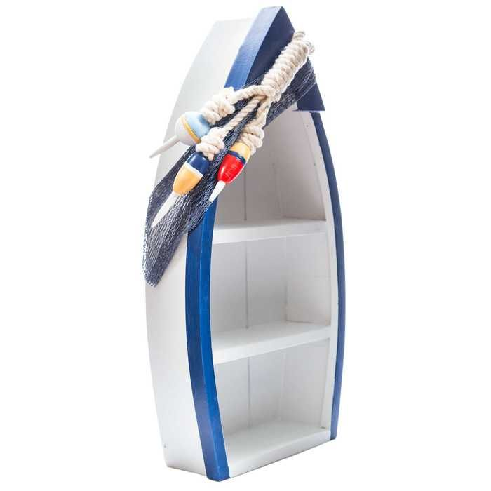 Standing Blue & White Boat Shelf with Buoy Accents   Hobby Lobby