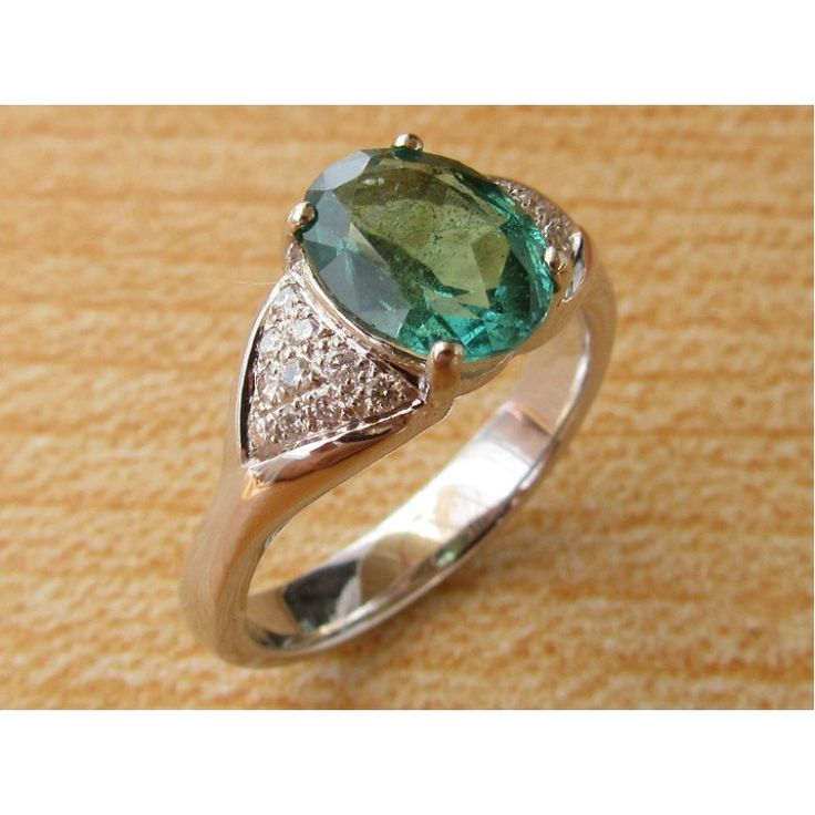 Emerald Ring Engagement Ring Pave in Triangle shape on the Sides May Birthstone -