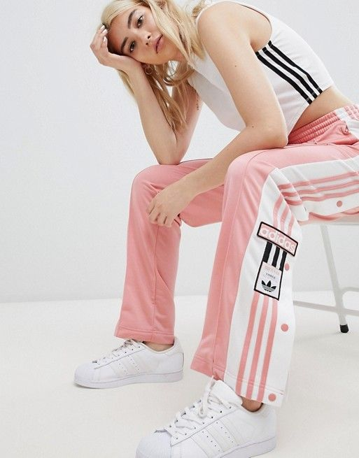 a480b2ab When you just want a little vintage in your life...Adidas Original Three  Strip Track Pant with Vintage Logo in Pink.