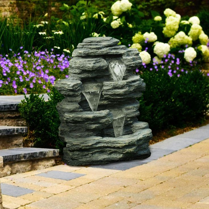 This outdoor rock fountain brings relaxation to your patio with its three-level cascade design. Place it near a flowerbed or showcase it somewhere noticeable for friends and family to enjoy. It's one of The Home Depot's most pinned products.
