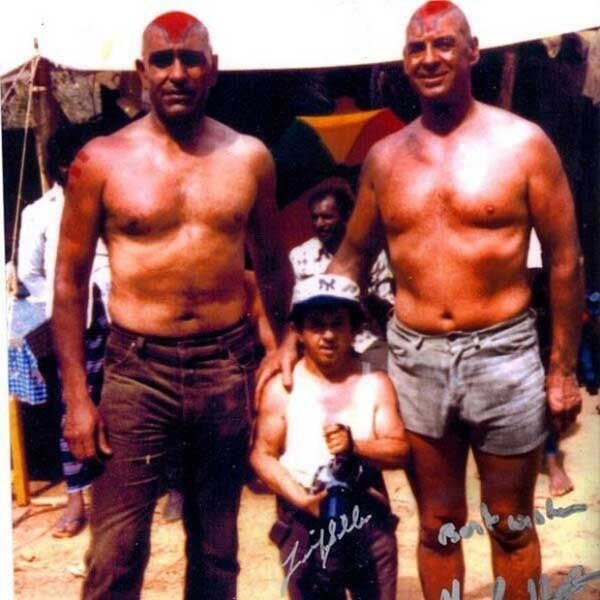 Amrish Puri with stunt double Frank Henson & Jonathan Ke Quan's stunt double Felix Silla on set of Temple of Doom