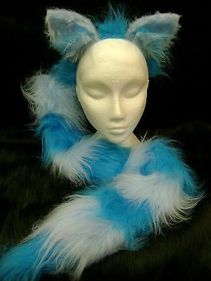 The Cheshire Cat Fancy Dress Ears And Tail Turquoise & Light Blue Fur Long Tail