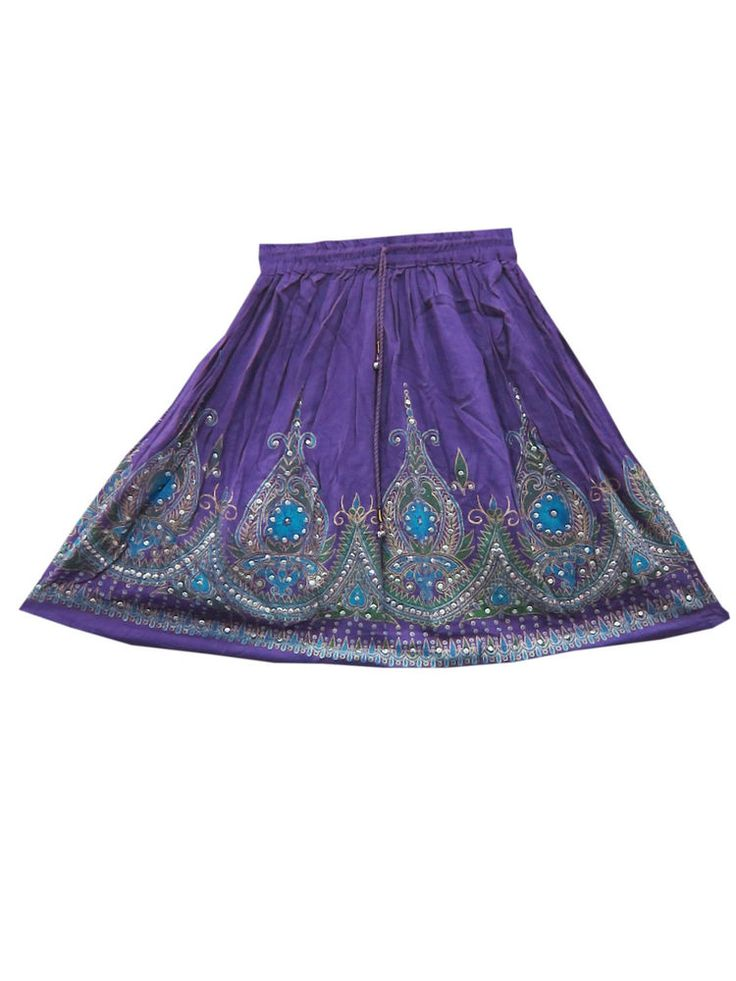 Sequin Mini Skirts Rayon Floral Design Purple Skirt Hand Work