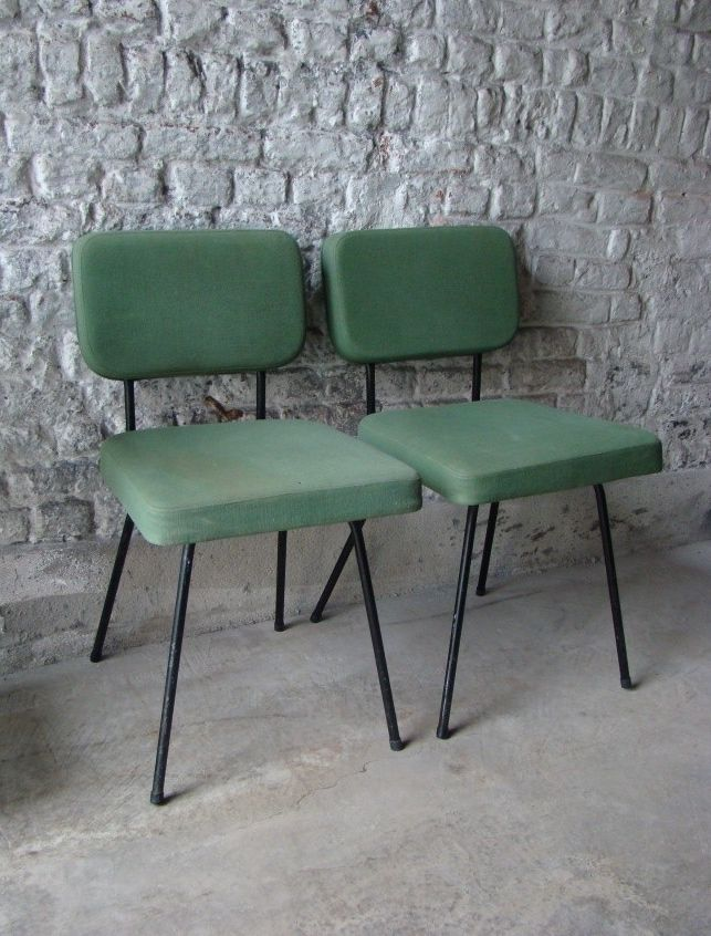André Simard; Enameled Tubular Metal Side Chairs for Airborne, c1955.