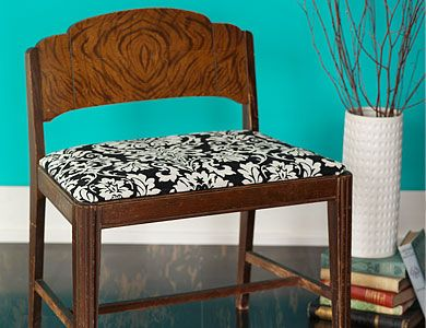 Reupholstery  Looking to revamp a cushioned furniture piece? The right fabric choice and a simple staple gun upholstery job will do the trick.