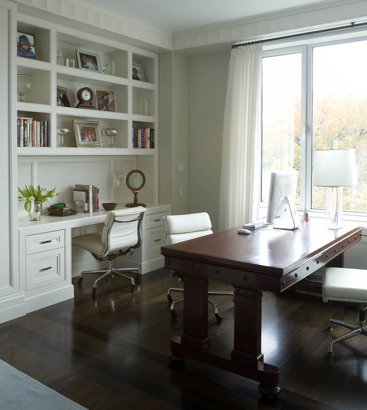 Home office and work space w/ desk and table; Eames desk chairs; inlay detail in wood floor; Architect - Alan Orenbuch; Designer - Michelle Prentice