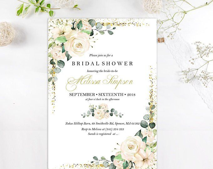 Wedding Invitation Template White Floral Watercolor Flowers Etsy