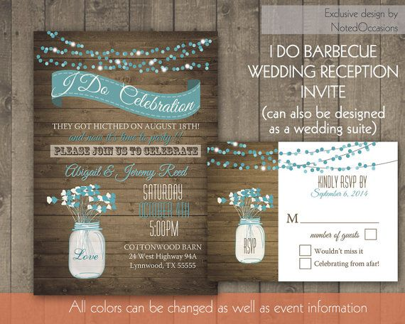 i do bbq wedding reception invitation wedding reception only invitations with a rustic mason - Wedding Reception Only Invitations