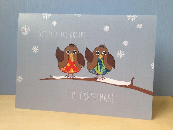 Robin Christmas Card  Groovy Robin Xmas Card  Funny