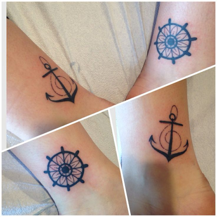 My anchor and helm tattoos, I love that I've got the flower in the helm and the treble clef in the anchor. Perfection.