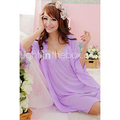 pigiama di seta moda carino arco delle donne - USD $11.99