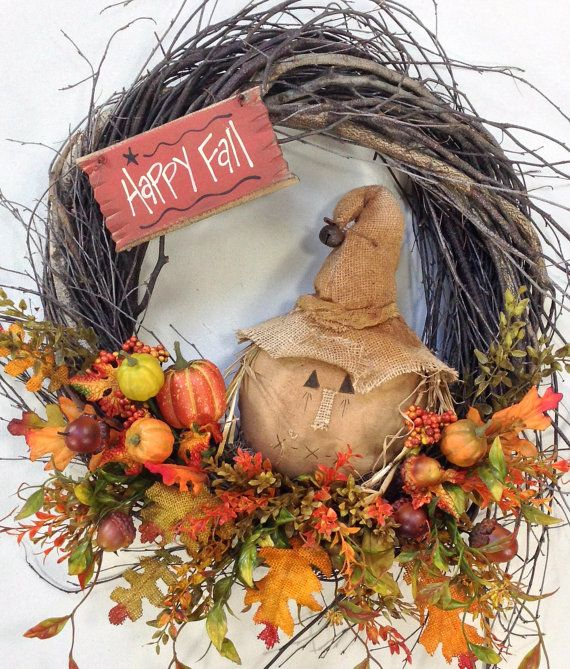 Fall Wreath Autumn Wreath Scarecrow Wreath by CrookedTreeCreation