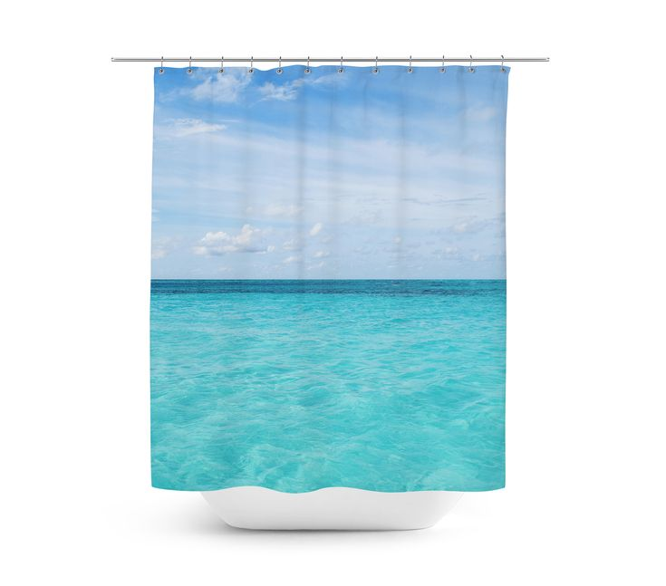 An awe-striking backdrop of the Caribbean for your beach style bathroom  settings, this hanging tub shower curtain features a ocean blue seascape of  Cayman Island waters throughout! Measuring at 71x74 inches with a twelve  buttonhole eyelet rim for ease of hanging, this vibrant nautical style bath  accent makes for a great addition to any beach themed bathroom setting!   *Available in 71x74 inches. **Curtain Rod, Shower Curtain Liner and Hooks Not Included