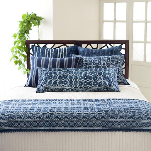 Pine Cone Hill | Resist Octagon Indigo Decorative Pillow | Inspired by traditional Indian kantha quilts, this cotton decorative pillow features a block-style print on an ink-colored background and constrast top stitching. Featherdown insert included.