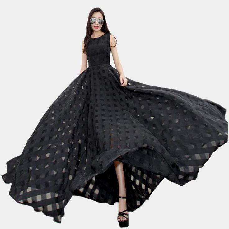 New Women Summer Dress Elegant Ladies Vintage Black Organza Sleeveless Long Beach Maxi Dress Sundress Vestidos Femininos $37.48 => Save up to 60% and Free Shipping => Order Now! #fashion #woman #shop #diy www.greatdress.ne...