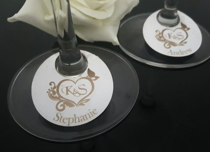 10 x Wine Stem Glass Place Cards Initials in Heart