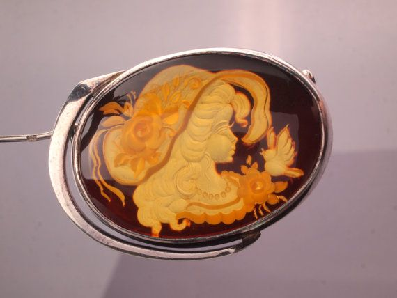 Amber Cameo Intaglio Brooch Judith Jack Style by BelmontandBellamy