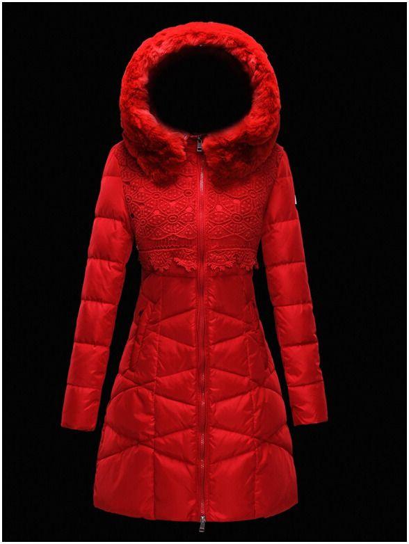 manteau moncler doudoune femme longue capuchon de fourrure rouge doudoune moncler prix