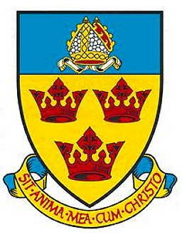 Arms of Stowmarket Town Council, England Granted 1970 Blazon: Or three crowns gules on a chief azure a mitre argent garnished of the field Motto: Sit anima mea cum Christo (May my soul be with Christ)