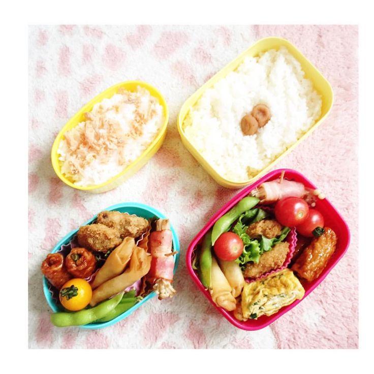いいね!18件、コメント1件 ― @mymzctaのInstagramアカウント: 「✩⋆*✦ 今日のお弁当 ✩⋆*✦ . 春巻き・枝豆・ベーコンのえのき巻き・卵焼き・魚フライ&レタス・ミニトマト・シャケ . #lunch #お弁当 #yummy #昼食 #kids #🍱…」