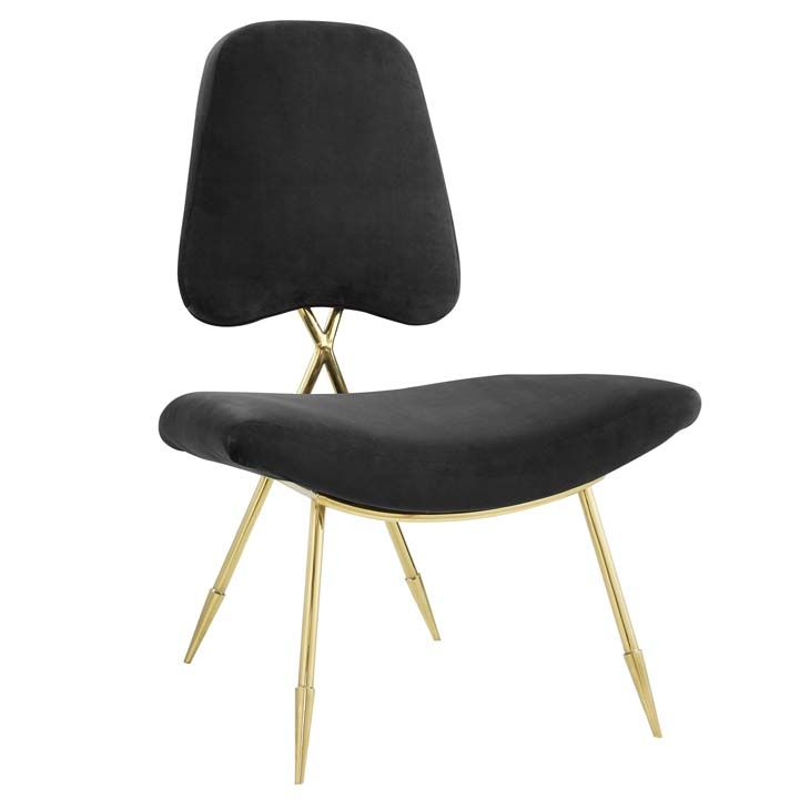 Ponder Upholstered Velvet Lounge Chair Ponder Upholstered Velvet Lounge Chair in Black