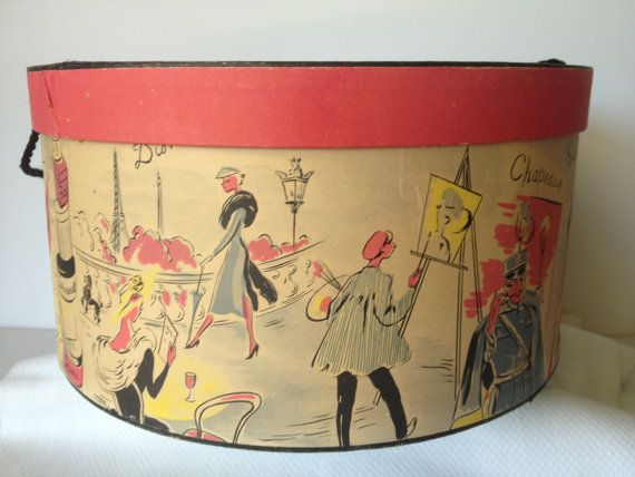 Vintage Hat Box - Chapeaux Unique - 1950's or 60's on Etsy, $35.00