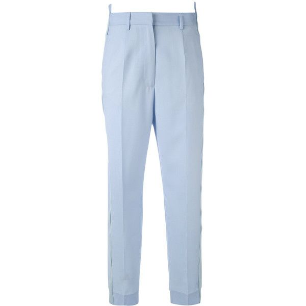Mm6 Maison Margiela stepped hem tailored trousers (5.245 ARS) ❤ liked on Polyvore featuring pants, blue, tailored pants, blue trousers, tailored fit pants, light blue pants and mm6 maison margiela
