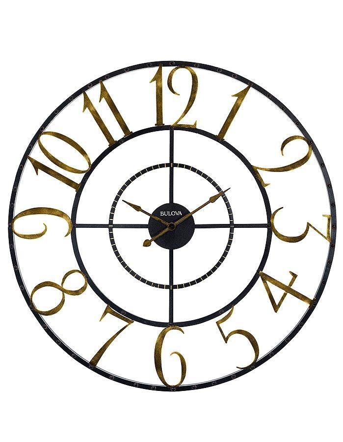 Bulova Colossus 60 Inch Oversized Wall Clock Weathered Gold Brown Princeton Watches Oversized Wall Clock Wall Clock Clock