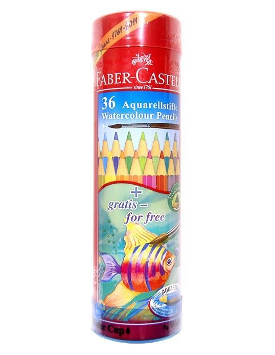 Faber-Castell Watercolour Pencil Round Tin 36 Water Soluble  #FaberCastell