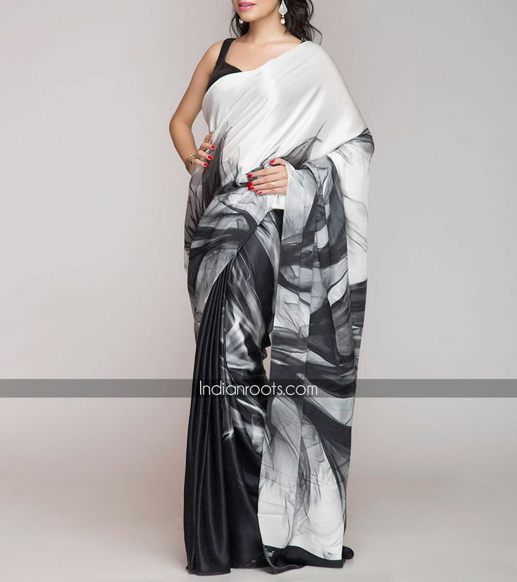 Black and white 100% silk satin saree featuring Satomi's original print by Satomi on Indianroots.com