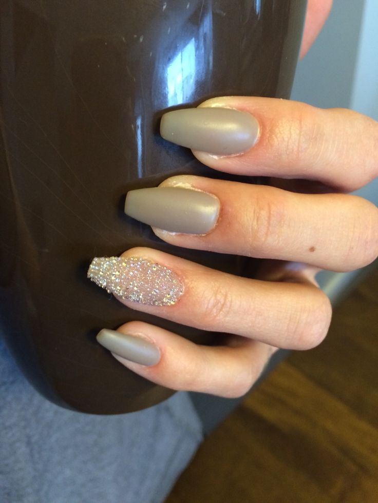 Swarovski Crystal Pixies In Cute Mood With Matte Grey Gel Nails Pixie Crystal Nails