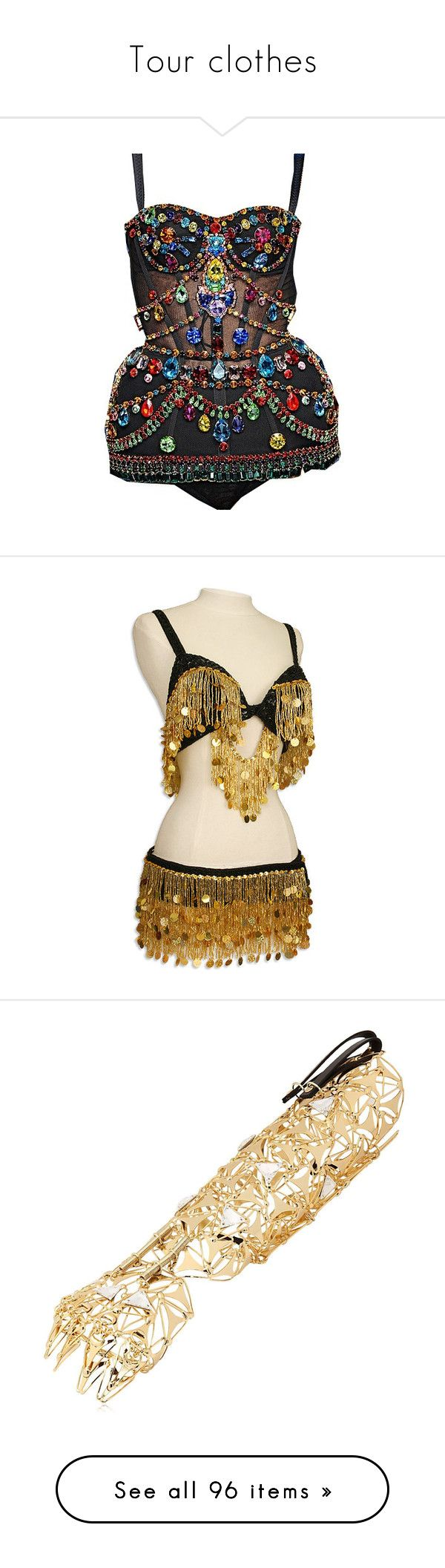 """""""Tour clothes"""" by lexiesocrazy ❤ liked on Polyvore featuring dresses, tops, playsuit, bodysuits, costumes, belly dance, dance costumes, misc, sequin belly dancer costume and gold halloween costumes"""