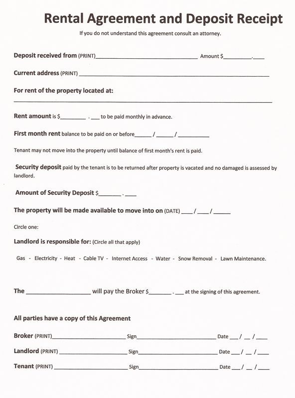 Printable Sample Free Rental Agreements Form