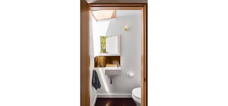 Monash Rd House, Tarragindi, Zuzana&Nicholas Architects, Brisbane House Renovation, Kitchen and Bathroom, Concrete Benchtops, Timber Cabinetry, Brass Splashback