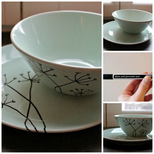 Cute way to bring life to white IKEA plates! visit http://yourinspirationstation.tumblr.com/post/109010564572/a-creative-touch